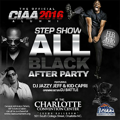 Tricky South CIAA 2016 Official Alumni All Black Party flyer